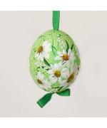 NEW - Christmas Easter Salzburg Hand Painted Easter Egg - White Flowers on Green