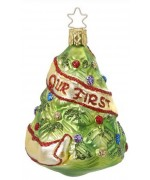 """NEW - Inge Glas """"Our First Christmas"""" Glass Ornament"""