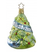 """NEW - Inge Glas """"Baby's First Christmas"""" Glass Ornament - Blue"""