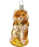 NEW - Inge Glas Herbie Hamster Glass Ornament