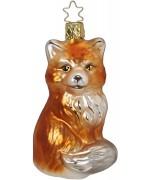 NEW - Inge Glas Furry Fox Glass Ornament