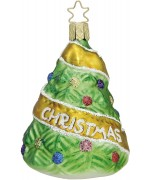 """NEW - Inge Glas """"Baby's First Christmas"""" Glass Ornament - Yellow"""