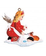 NEW - Angel Helping Animals Ornament 2020 Christmas Pewter Wilhelm Schweizer