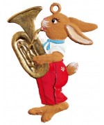 NEW - Bunny with Tuba Easter Ornament Pewter Wilhelm Schweizer