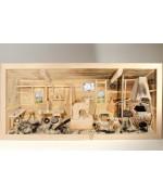 German wooden 3D-picture box-Diorama Blacksmith Natural
