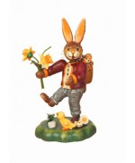 Hasenvater mit Narzisse Original HUBRIG Wooden Figuren - TEMPORARILY OUT OF STOCK