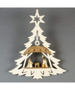 TEMPORARILY OUT OF STOCK - 3-D Nativity wooden Window Hanging Pyramid