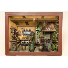 German wooden 3D-picture box-Diorama Schmiede Painted - TEMPORARILY OUT OF STOCK