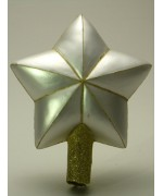 Mouth Blown Glass Ornament 'White Star Tree topper'