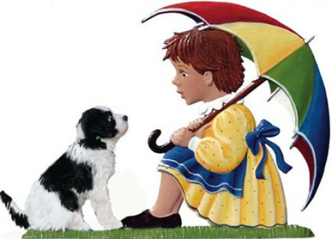 Girl with Umbrella and Dog Standing Pewter Wilhelm Schweizer