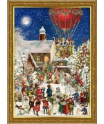 Old German Paper Advent Calendar Santa Claus at the Christmas Market