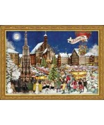 TEMPORARILY OUT OF STOCK - Old German Paper Advent Calendar Nuernberger Weihnachtsmarkt