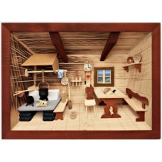 German wooden 3D-picture box-Diorama Farm Kitchen Painted