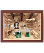 TEMPORARILY OUT OF STOCK German wooden 3D-picture box-Diorama Carpenter Shop Painted