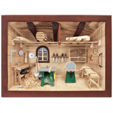 German wooden 3D-picture box-Diorama Carpenter Shop Painted TEMPORARILY OUT OF STOCK