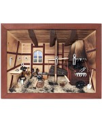German wooden 3D-picture box-Diorama Blacksmith - Schmied Painted