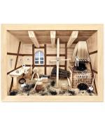 German wooden 3D-picture box-Diorama Blacksmith Shop Natural