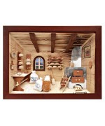 TEMPORARILY OUT OF STOCK - German wooden 3D-picture box-Diorama Bakery Shop Painted
