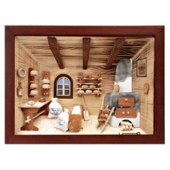 German wooden 3D-picture box-Diorama Bakery Shop Painted