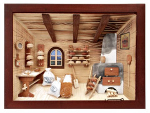 German wooden 3D-picture box-Diorama Bakery Shop Painted TEMPORARILY OUT OF STOCK