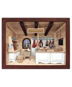 German wooden 3D-picture box-Diorama Butcher Shop Painted