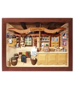 TEMPORARILY OUT OF STOCK - German wooden 3D-picture box-Diorama Grocery Shop Painted