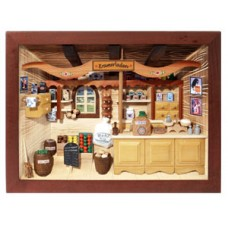 German wooden 3D-picture box-Diorama Grocery Shop Painted