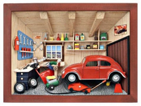 German wooden 3D-picture box-Diorama Auto Repair Shop Painted