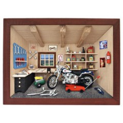 German wooden 3D-picture box-Diorama Harley Davidson Motorcycle Scene