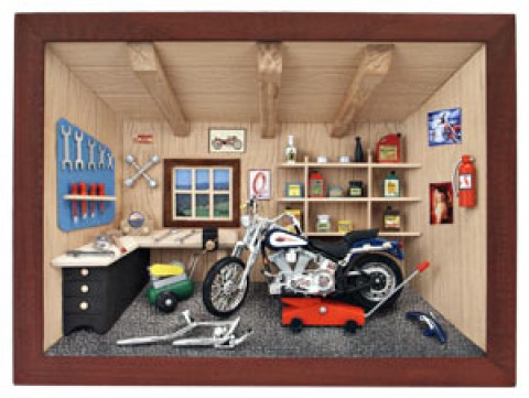 German wooden 3D-picture box-Diorama Motorcycle Scene