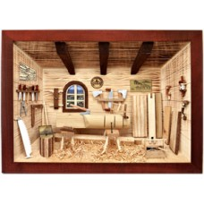 German wooden 3D-picture box-Diorama Roofer Workshop Painted