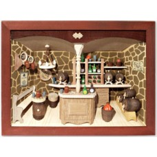 German wooden 3D-picture box-Diorama Wine Shop Painted