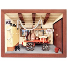German wooden 3D-picture box-Diorama Firehouse Painted