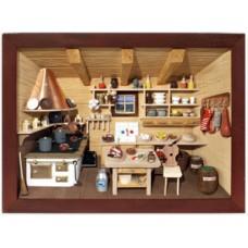 German wooden 3D-picture box-Diorama Restaurant Kitchen Painted