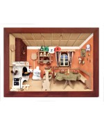German wooden 3D-picture box-Diorama Pizza - Restaurant Painted