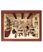 German wooden 3D-picture box-Diorama Cobbler Shop Painted