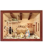 German wooden 3D-picture box-Diorama Nativity Painted