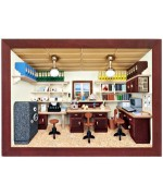 German wooden 3D-picture box-Diorama Office Painted