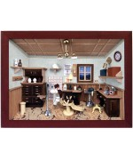 German wooden 3D-picture box-Diorama Dentist Office Painted