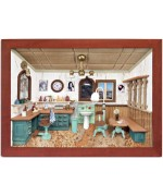 German wooden 3D-picture box-Diorama Hair Salon Painted