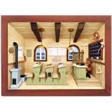 German wooden 3D-picture box-Diorama School Room - Klassenzimmer Painted
