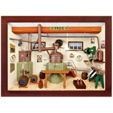 German wooden 3D-picture box-Diorama Brewery - Brauerei Painted