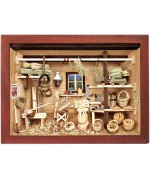 German wooden 3D-picture box-Diorama Basket Weaver Shop Painted