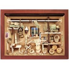 German wooden 3D-picture box-Diorama Basket Weaver Shop Painted