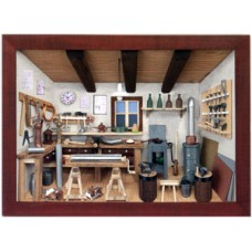 German wooden 3D-picture box-Diorama Sheet Metal Shop Painted