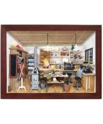 German wooden 3D-picture box-Diorama Tailor - Schneiderei Pain