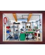 German wooden 3D-picture box-Diorama Electrician - Elektriker Painted -Workshop