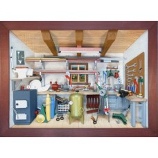 German wooden 3D-picture box-Diorama Heating - Plumbing Heizung - SanitÃ