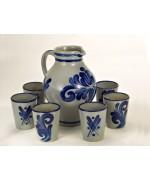 German Salt Glaze Pottery Pitcher and Cups Set