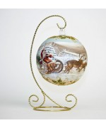 TEMPORARILY OUT OF STOCK <BR><BR>  Mouth Blown Glass Ornament 'Santa on his Sleigh'
